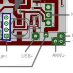 Forumslader v4.0 I2C Schnittstelle am JP1 auf der rechten Seite der Platine. Rechteck = Pin1. Platinenlayout:  J. & S. During / forumslader.de